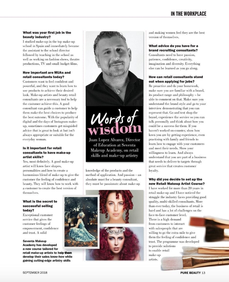 Retail Skills for Makeup Artists - Pure Beauty Magazine Feature - Seventa Makeup Academy