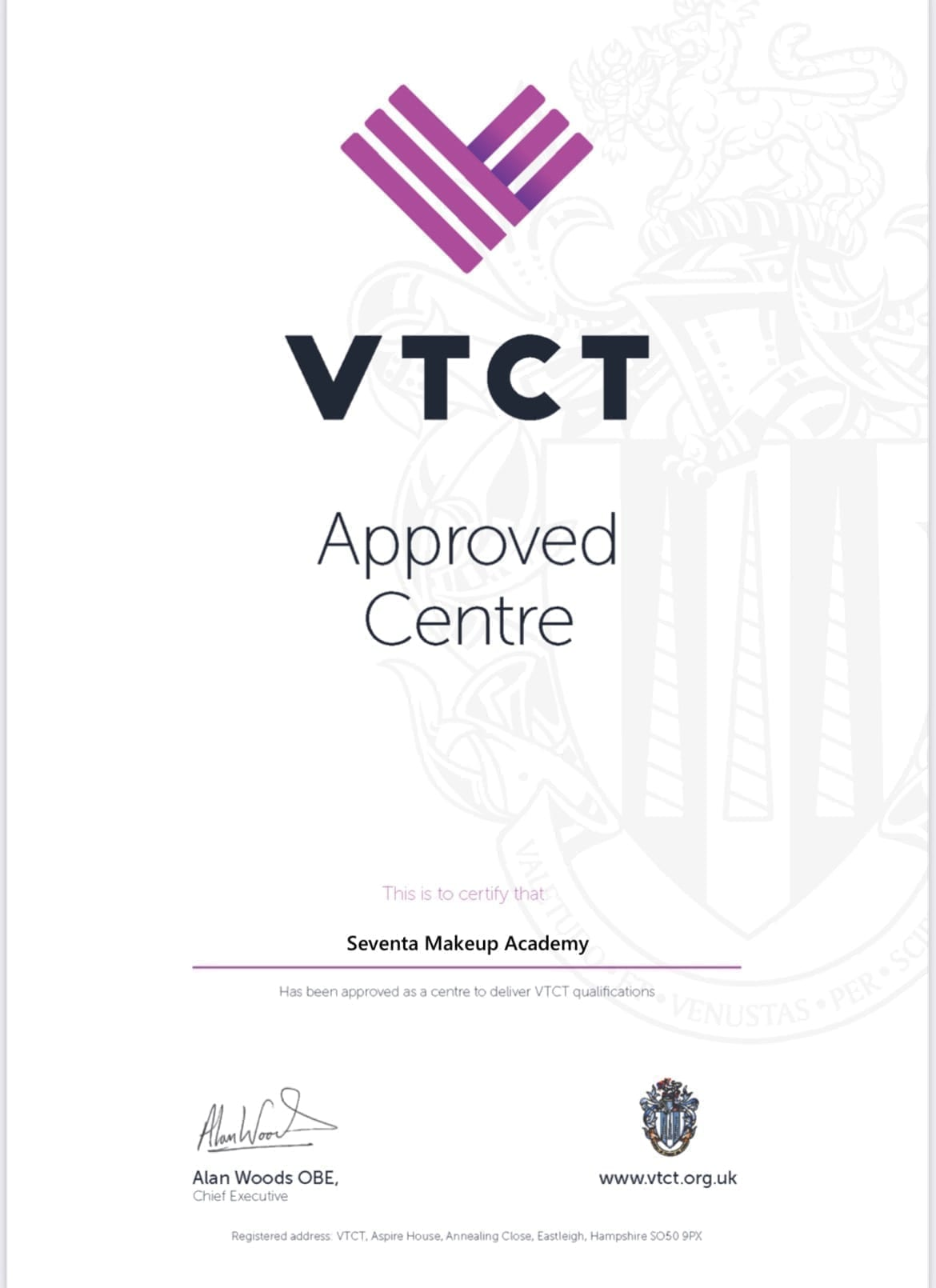 VTCT Approved Centre - Seventa Makeup Academy